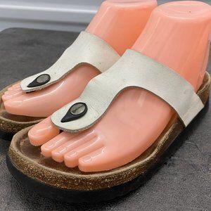 High Sierra White Thong Leather Slides Sandals